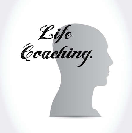 life coaching: life coaching head sign icon concept illustration design over white