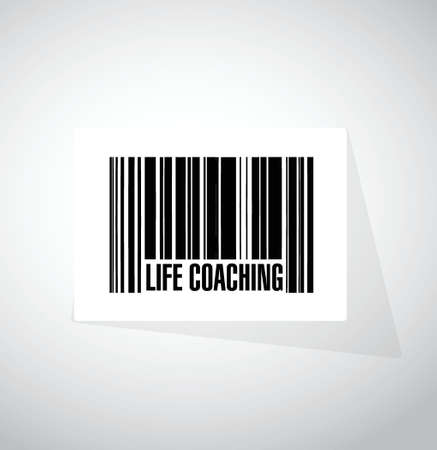life coaching: life coaching barcode sign icon concept illustration design over white