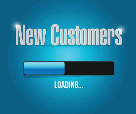 Noví zákazníci loading bar znamení koncepce ilustrace design přes modrou