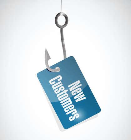 new customer hook sign concept illustration design over white Banco de Imagens