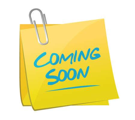coming soon memo post sign concept illustration design over white Reklamní fotografie