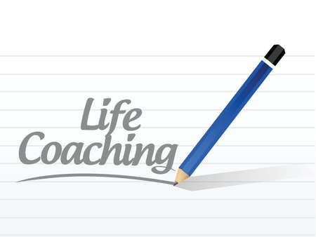 life coaching: life coaching message sign icon concept illustration design over white