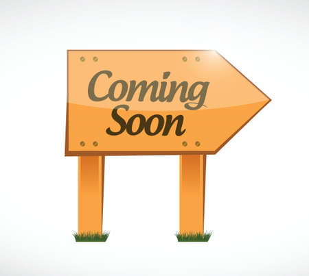 coming soon wood sign concept illustration design over white