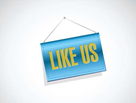 hanging banner: like us hanging banner sign concept illustration design over white