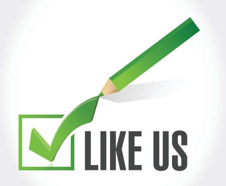 check mark sign: like us check mark sign concept illustration design over white