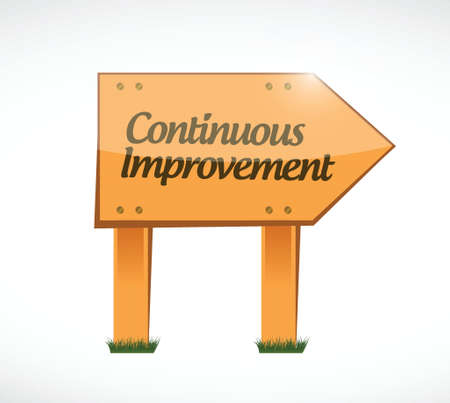 implement: continuous improvement wood sign concept illustration design over white background
