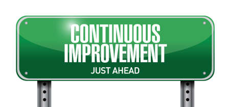 continuous: continuous improvement street sign concept illustration design over white background Illustration