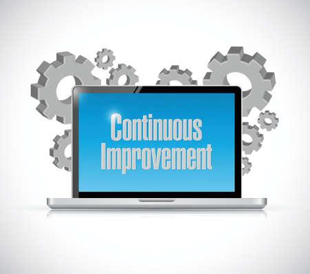implement: continuous improvement tech computer sign concept illustration design over white background