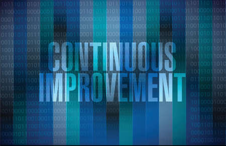continuous: continuous improvement sign concept illustration design over blue background Illustration