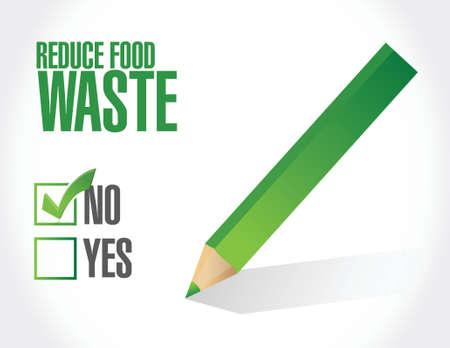 reduce waste: negative. reduce food waste sign concept illustration design over white background