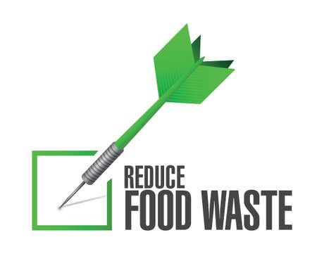 reduce waste: reduce food waste check dart sign concept illustration design over white background Illustration