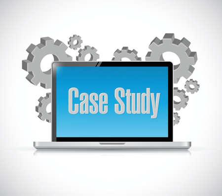 computer case: case study tech computer sign concept illustration design over white background Illustration