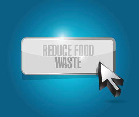 reduce waste: reduce food waste button sign concept illustration design over blue background