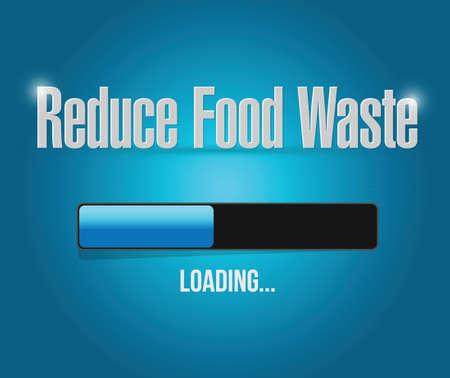 reduce waste: reduce food waste loading bar sign concept illustration design over blue background Illustration