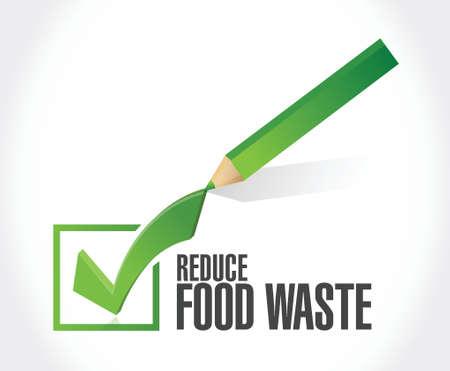 reduce waste: reduce food waste check mark sign concept illustration design over white background