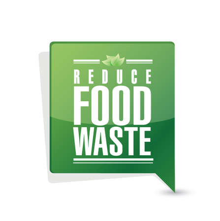 reduce food waste message pointer sign concept illustration design over white background