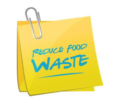 reduce waste: reduce food waste post memo sign concept illustration design over white background