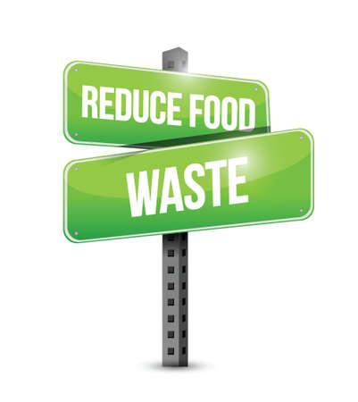 reduce waste: reduce food waste street sign concept illustration design over white background