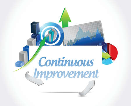 continuous: continuous improvement business sign concept illustration design over white background