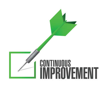 continuous: continuous improvement check dart sign concept illustration design over white background
