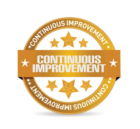continuous improvement seal sign concept illustration design over white background