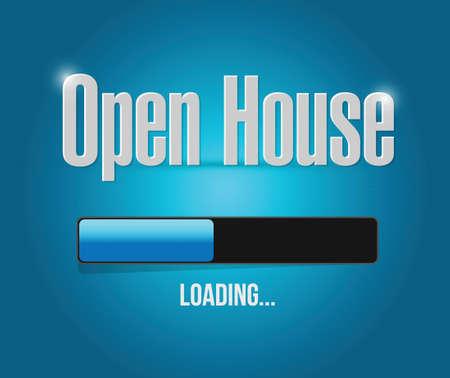 open house: open house loading bar sign concept illustration design over blue background