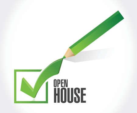 color selection: open house check mark sign concept illustration design over white background