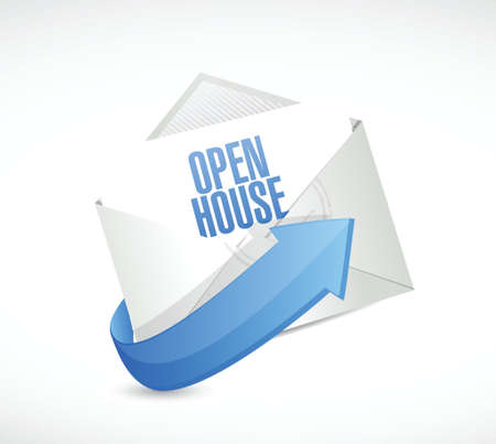 open house: open house mail sign concept illustration design over white background