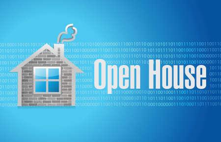 open house: open house sign concept illustration design over blue background