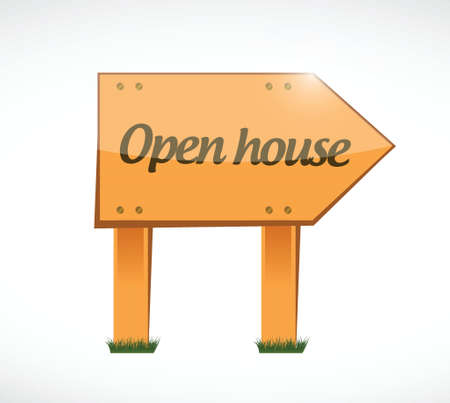 open house: open house wood sign concept illustration design over white background