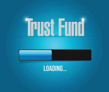 stockmarket: trust fund loading sign concept illustration over a blue background Illustration