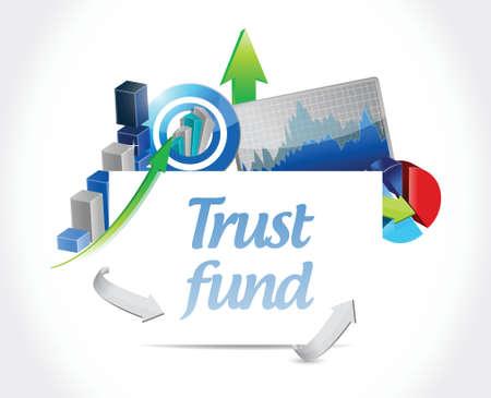 trust fund business graphs sign concept illustration over a white background Illusztráció
