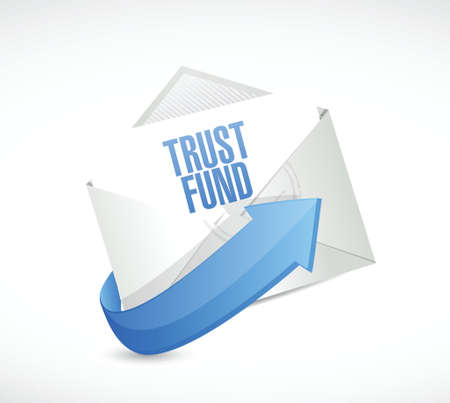 white fund: trust fund mail sign concept illustration over a white background