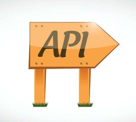 api: Api wood sign concept illustration design over white