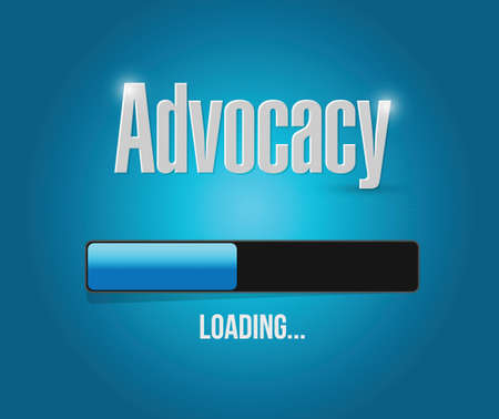 urging: advocacy loading bar sign concept illustration design over blue