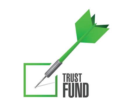 trust fund approval check dart sign concept illustration over a white background Illusztráció