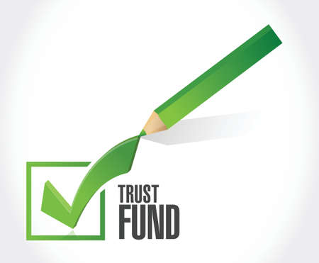 stockmarket: trust fund approval check mark sign concept illustration over a white background