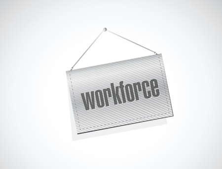 흰색 위에 노동 인구 배너 기호 개념 일러스트 레이션 디자인