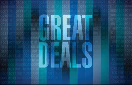 great deals sign concept illustration design over a blue background
