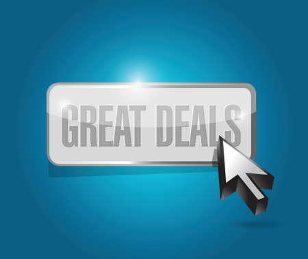 great deals button sign concept illustration design over a blue background