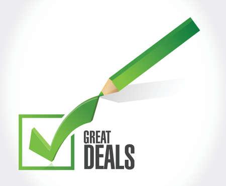 great deals check mark sign concept illustration design over a white background Illustration