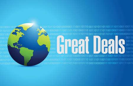 great deals international sign concept illustration design over a globe background Illustration
