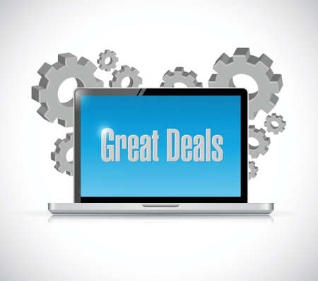 great deals tech computer sign concept illustration design over a white background
