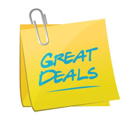 great deals memo post sign concept illustration design over a white background