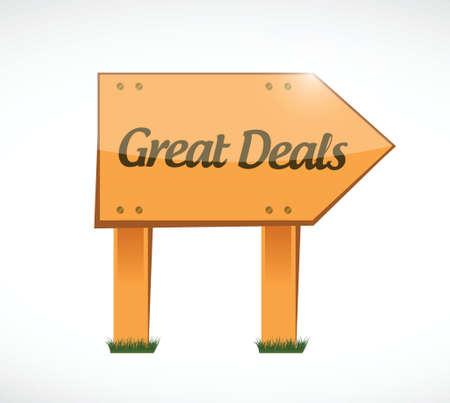 great deals wood sign concept illustration design over a white background