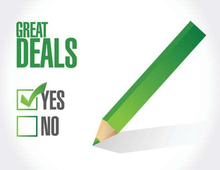 great deals check list sign concept illustration design over a white background