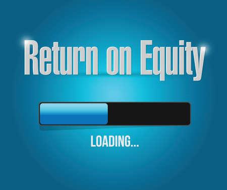 equidad: el retorno de la carga de la equidad signo barra de ilustraci�n del concepto de dise�o sobre un fondo azul