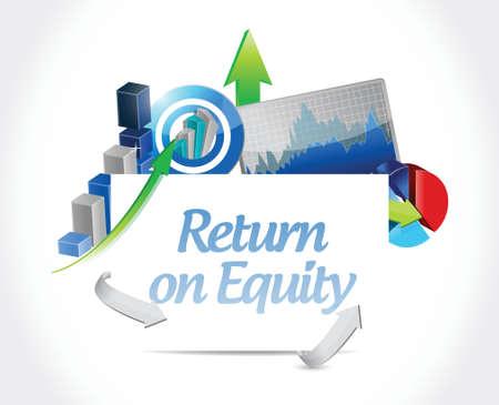 return on equity business graphs sign concept illustration design over a white background Illustration