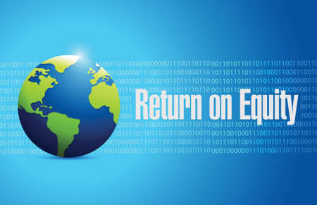 equity: return on equity international sign concept illustration design over a blue background