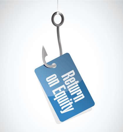 equidad: el retorno de la se�al de gancho de la equidad de etiquetas ilustraci�n del concepto de dise�o sobre un fondo blanco